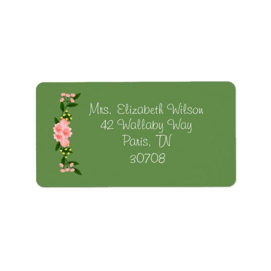 Etiquetas de dirección florales rosadas de la
