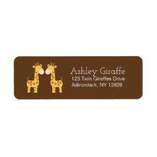 Etiquetas de dirección gemelas de las jirafas