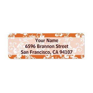 Etiquetas de dirección hawaianas anaranjadas