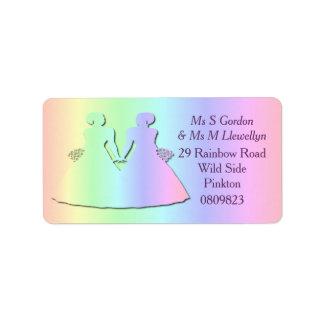 Etiquetas de dirección lesbianas del boda del arco