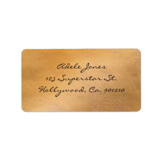 Etiquetas de dirección metálicas de cobre