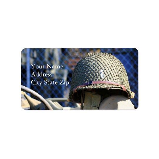 Etiquetas de dirección militares del casco