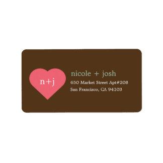 Etiquetas de dirección modernas del amor etiquetas de dirección