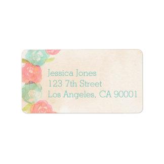 Etiquetas de dirección nupciales florales de la