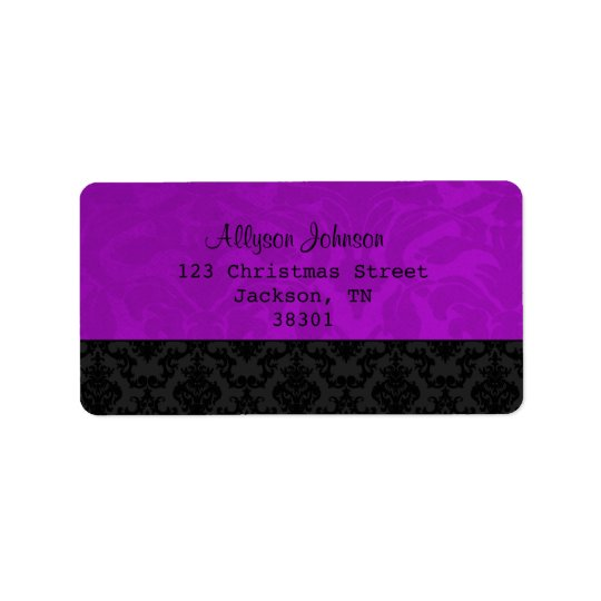 Etiquetas de dirección púrpuras y negras del