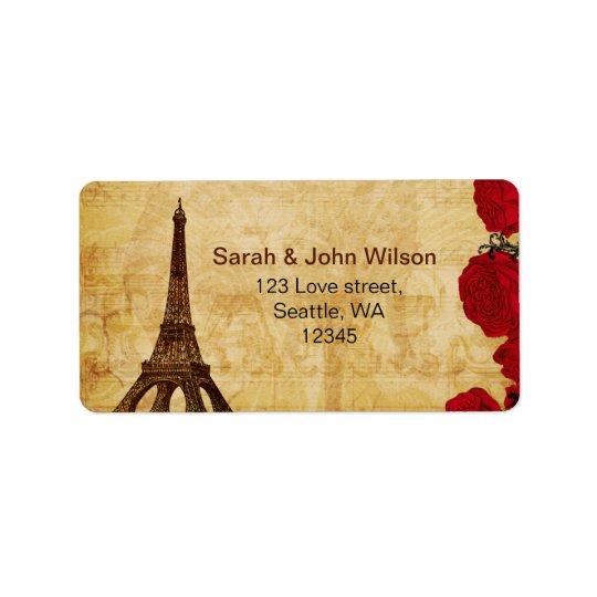 etiquetas de dirección rojas de París de la torre