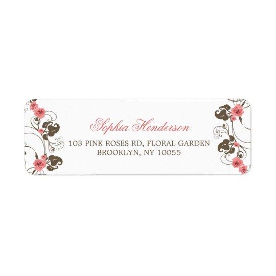 Etiquetas de dirección rosadas del boda de Fleur