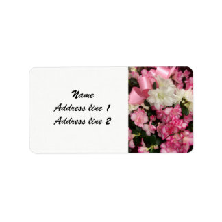 Etiquetas de dirección rosadas del boda de la flor