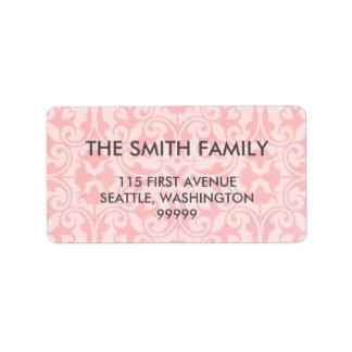 Etiquetas de dirección rosadas del damasco
