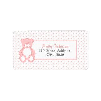 Etiquetas de dirección rosadas del oso de peluche