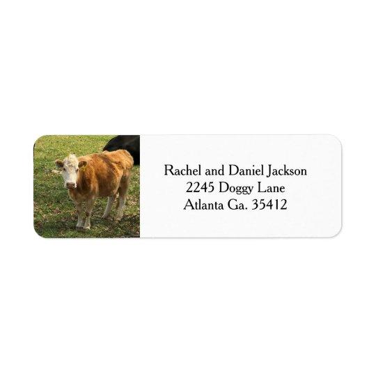 Etiquetas de dirección rubias de la vaca