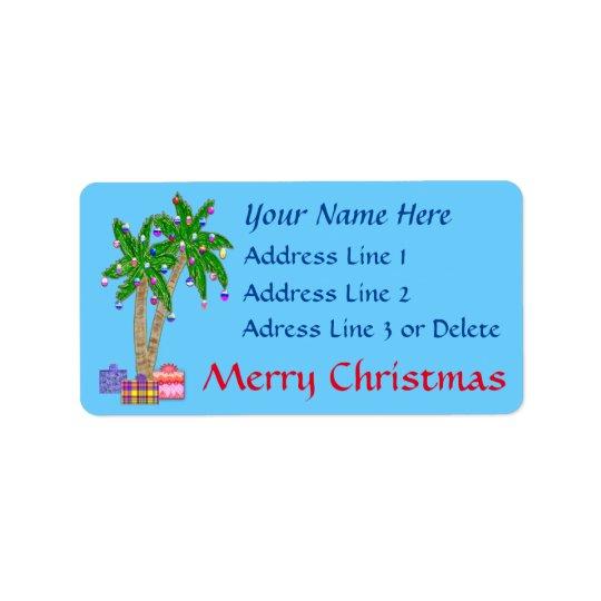 Etiquetas de dirección tropicales del navidad con