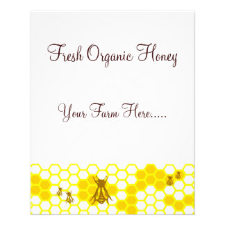 Etiquetas de encargo/aviador de la miel de la abej folleto 11,4 x 14,2 cm