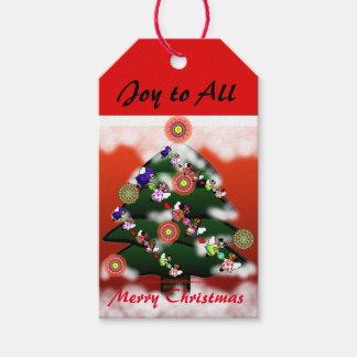 Etiquetas de encargo del árbol de navidad y del etiquetas para regalos