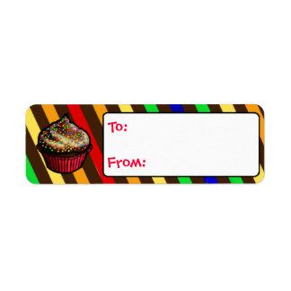 Etiquetas de encargo del regalo de la magdalena de etiqueta de remite