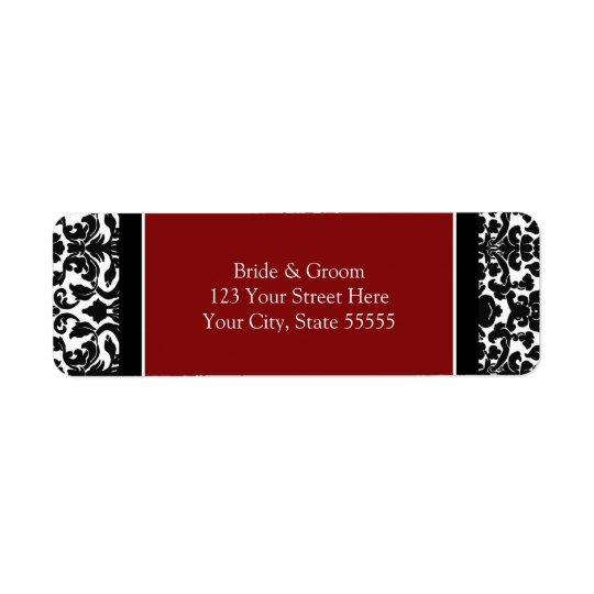Etiquetas de encargo del remite del boda rojo etiqueta de remitente