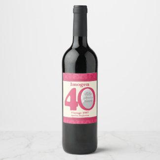 Etiquetas de encargo del vino de la 40.a foto del