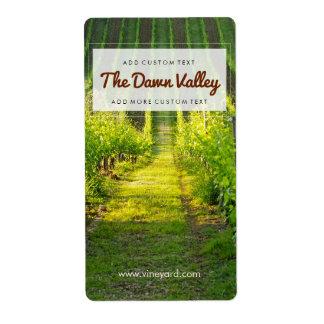 Etiquetas de encargo del vino del viñedo verde etiqueta de envío