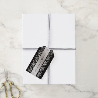 Etiquetas de encargo negras y de plata elegantes etiquetas para regalos