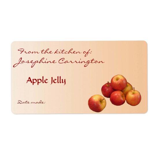 Etiquetas de enlatado de la jalea de Apple