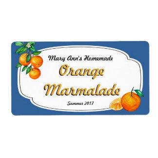 Etiquetas de enlatado de la mermelada anaranjada