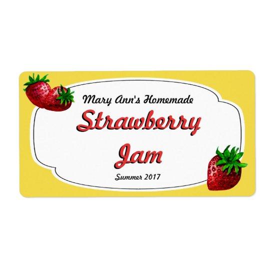 Etiquetas de enlatado de la mermelada de fresa