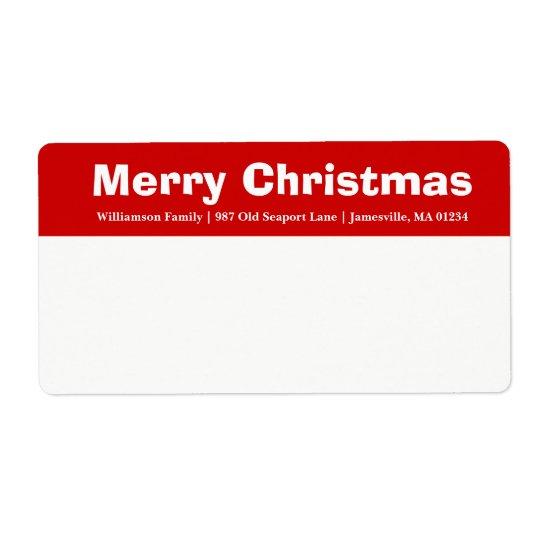 Etiquetas de envío rojas y blancas de las Felices