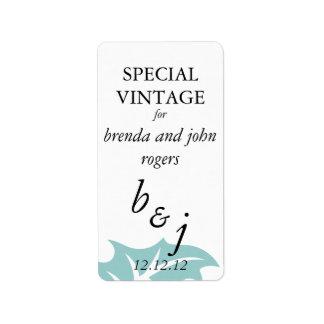 Etiquetas de la botella de vino del boda del invie etiquetas de dirección