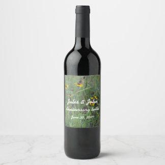 Etiquetas de la botella de vino del campo de flor