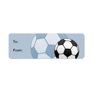 Etiquetas de la etiqueta del regalo del fútbol de etiqueta de remite