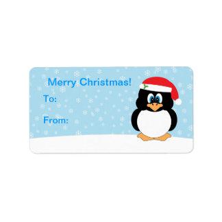Etiquetas de la etiqueta del regalo del pingüino etiqueta de dirección