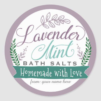 Etiquetas de la sal de baño de la menta de la pegatina redonda