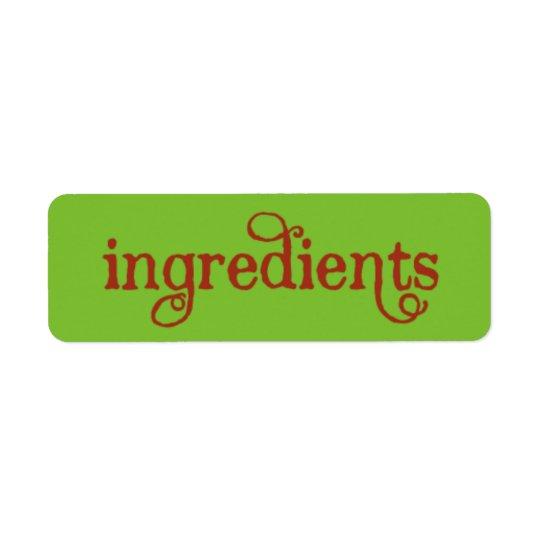 ETIQUETAS de los ingredientes de la tarjeta de la