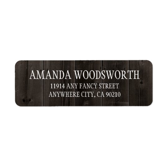 Etiquetas de madera del boda del granero rústico etiqueta de remitente