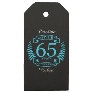 Etiquetas De Madera Para Regalos 65.o ZAFIRO del ANIVERSARIO de boda
