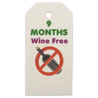 Etiquetas De Madera Para Regalos 9 meses de vino liberan, mamá embarazada, regalo