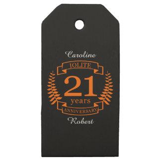 Etiquetas De Madera Para Regalos Aniversario de boda de la piedra preciosa de