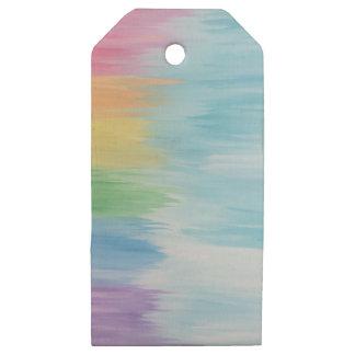 Etiquetas De Madera Para Regalos Arco iris abstracto
