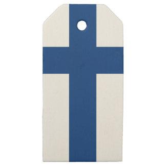 Etiquetas De Madera Para Regalos Bandera de la bandera cruzada azul de Finlandia