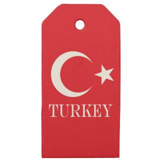 Etiquetas De Madera Para Regalos Bandera de Turquía