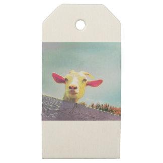 Etiquetas De Madera Para Regalos cabra Rosado-espigada