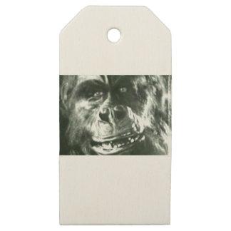 Etiquetas De Madera Para Regalos Cara grande del mono