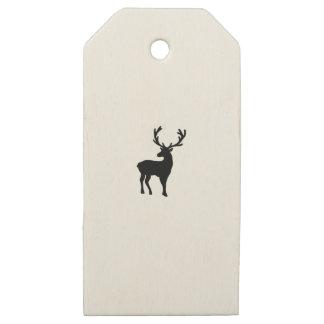 Etiquetas De Madera Para Regalos Ciervos blancos y negros