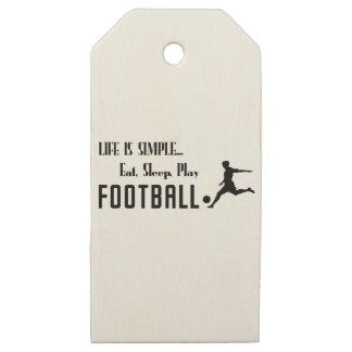 Etiquetas De Madera Para Regalos coma el fútbol del juego del sueño