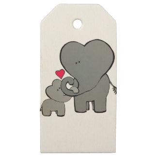 Etiquetas De Madera Para Regalos Corazones del elefante