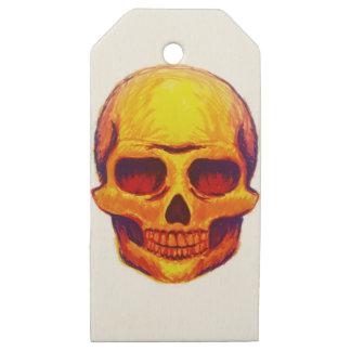 Etiquetas De Madera Para Regalos Cráneo del bosquejo