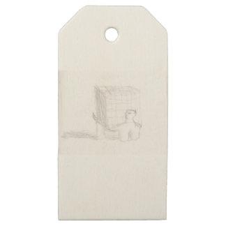 Etiquetas De Madera Para Regalos cubo de la tortuga de caja que dibuja Eliana