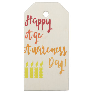 Etiquetas De Madera Para Regalos Cumpleaños divertido de la edad del día feliz de