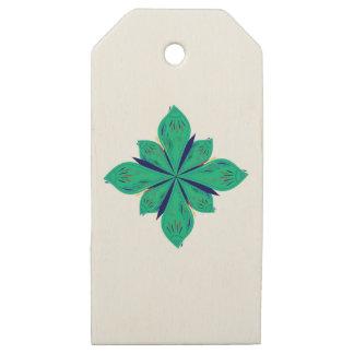 Etiquetas De Madera Para Regalos Deco verde de Ethno de la mandala