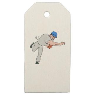 Etiquetas De Madera Para Regalos Dibujo animado de la bola del tiro de la jarra del